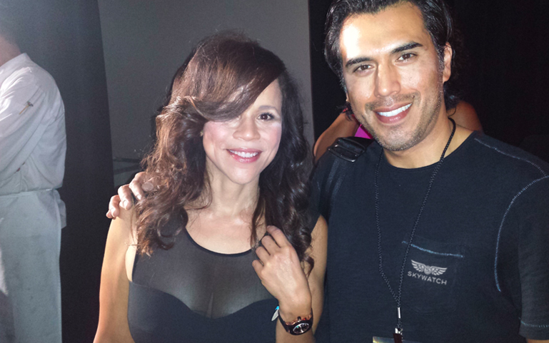 Skywatch Founder and Creative Director Gabriel Ibarra and actress Rosie Perez